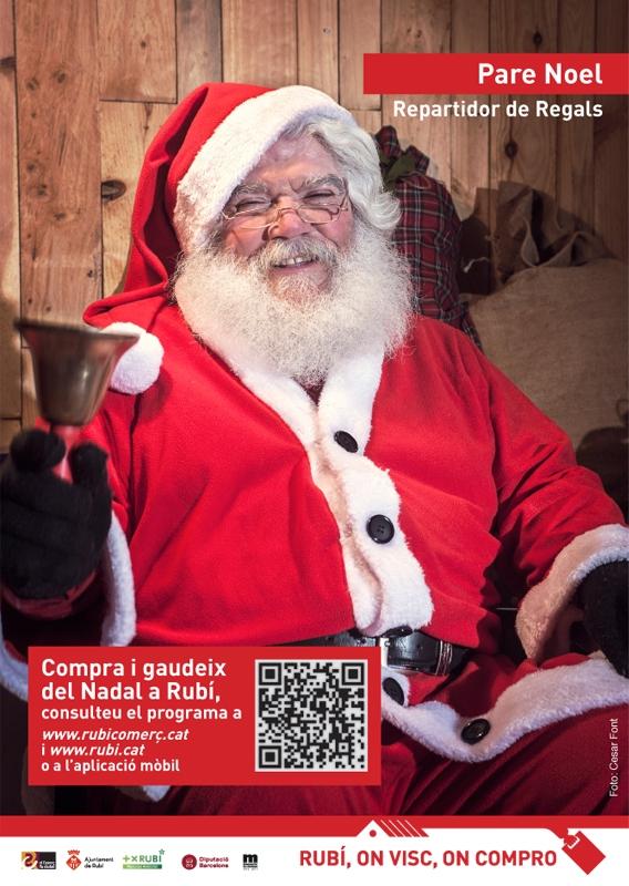 Santa promoting locals Christmas shopping. Papá Noel promociona el comercio local. El Pare Noel promociona el comerç local.