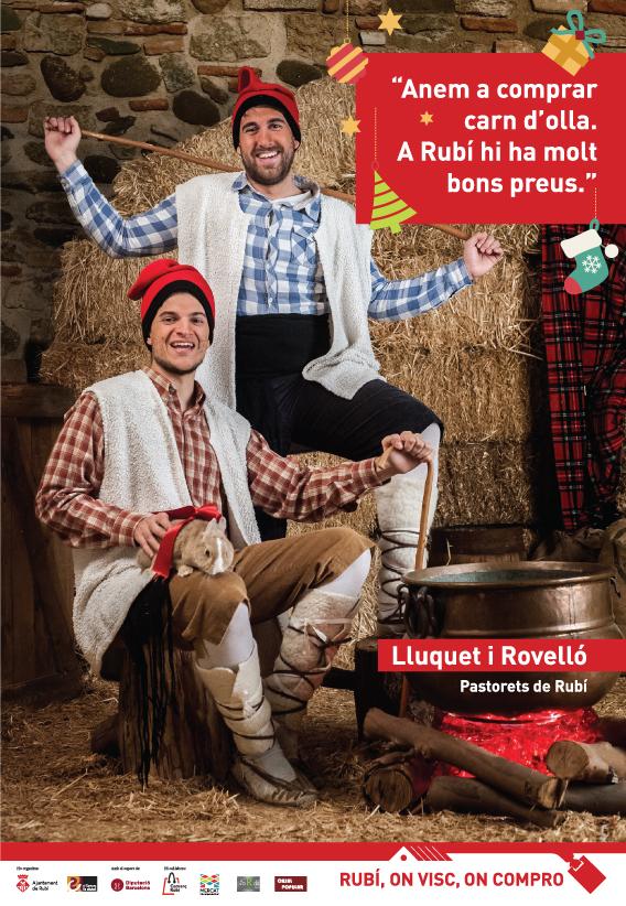 The little sheperd boys from Betlehem promoting local shopping. Los pastorcillos promocionan el comercio local. Els pastorets promocionen el comerç local per Nadal.