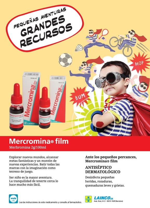 Ad for antispetic mercromina, super-hero