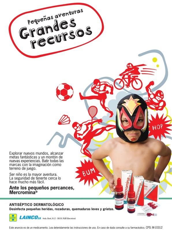 Ad for antispetic mercromina, boy wrestler