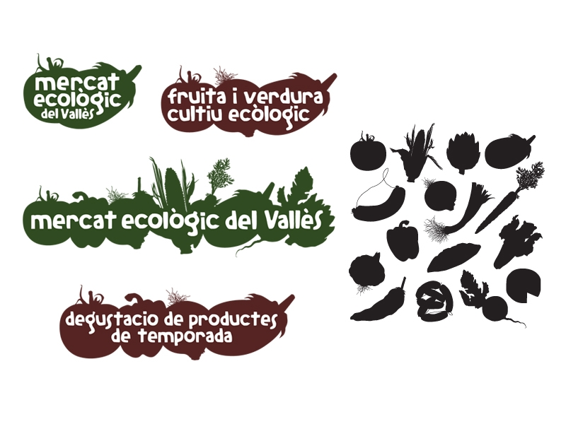 Librería de símbolos para el mercado ecológico del Vallès. Symbol library for the farmer's market. Llibreria de símbols pel mercat ecològic.