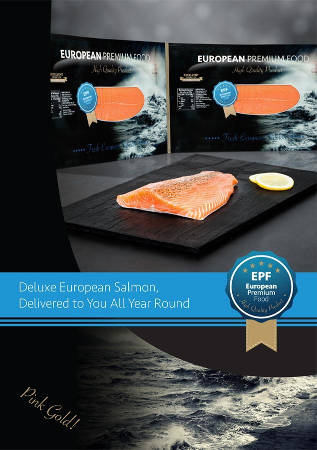 Portada filleto venda salmón mayorista. Brochure cover wholesale of European salmon. Portada fulletó venda de salmó europeu a l'África.