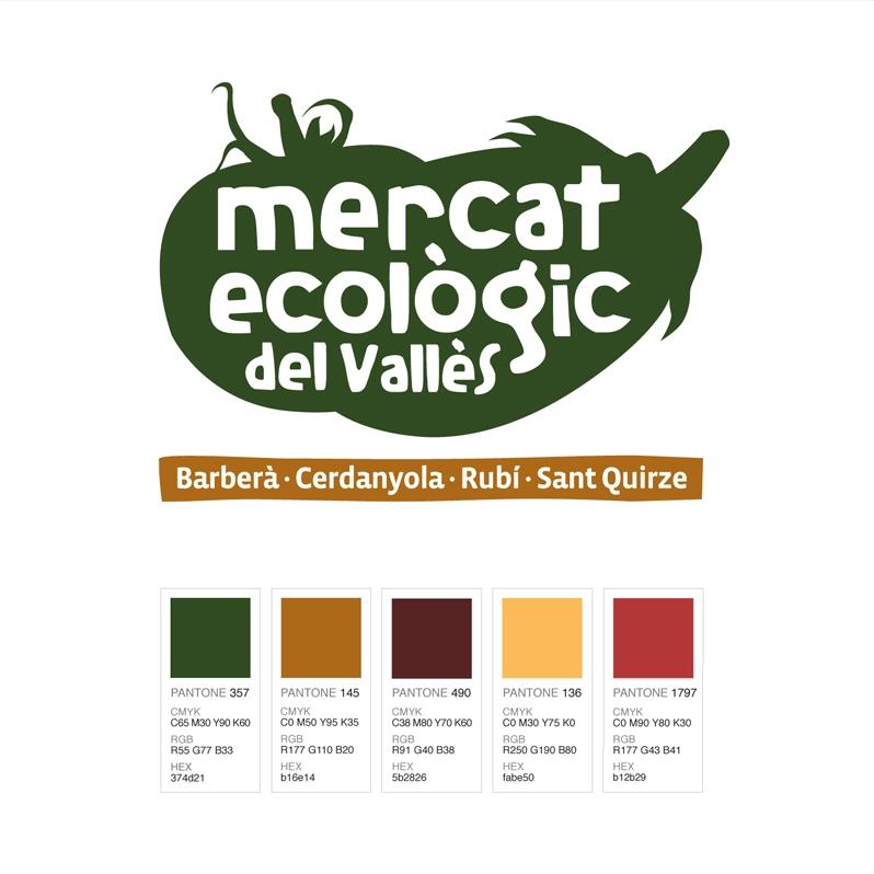 Colores del logotipo del Mercat Ecològic del Vallès. Colors for the logo of the Vallès farmer's market. Logotip i colors del Mercat Ecològic del Vallès.