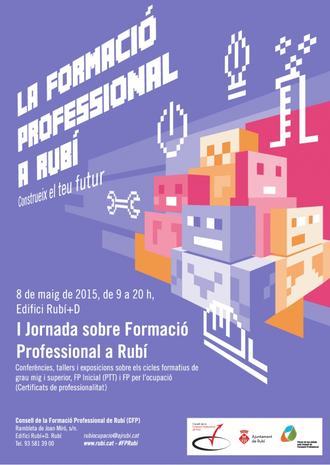 Cartel promoción FP ilustración píxels. Poster for the promotion of professional studies. Poster promocional de l'FP ilustració amb píxels.